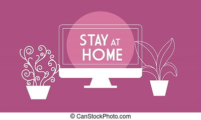 desktop with stay at home lettering ,4k video animated