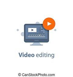 Desktop with video editing program, making movie, post...