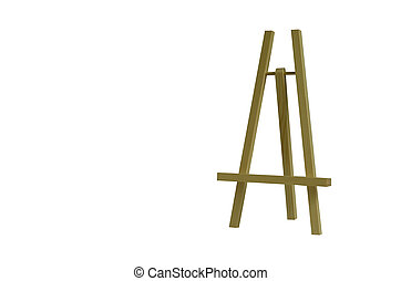 Desktop wooden easel isolated on white background. Art supplies for creativity.