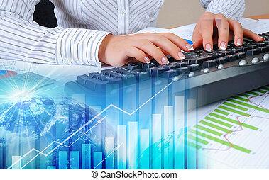 desktop, wykresy, dokumenty, wykresy