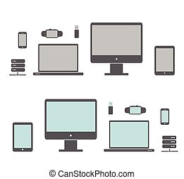 icons of the electronics - Desktop,Smart Watches, computer,...