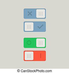 desligado, interruptor, ilustração, button., toggle, vetorial, position.