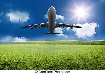 desligado, levando, avião, gramado, sobre, 3d