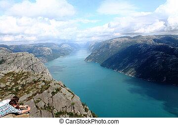 desligado, lysefjorden, vista