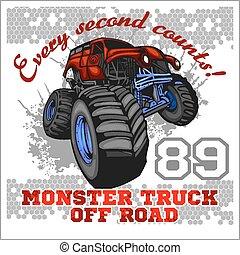 desligado, monstro, -, caminhão, emblema, estrada