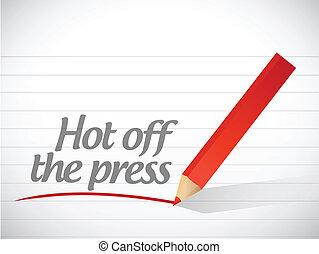 desligado, quentes, ilustração, escrito, imprensa, mensagem