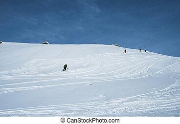 desligado, recurso, piste, esquiadores, esqui, alpino
