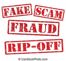 desligado, scam, rasgo, fraude, selos, fraude