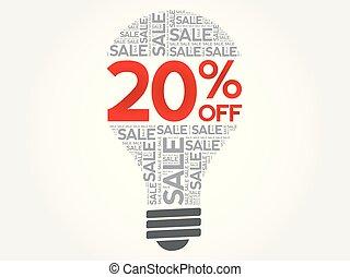 desligado, venda, 20%, bulbo, palavra, nuvem