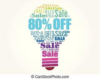 desligado, venda, 80%, bulbo, palavra, nuvem