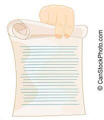 deslizamento, de, papel, em, mão