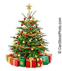 deslumbrante, árvore natal, com, presente boxeia