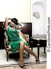 deslumbrante, cadeira, morena, luxo, sentando
