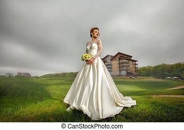 deslumbrante, dela, buquet, mãos, noiva, paleto, loiro,...