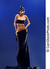 deslumbrante, femininas, modelo moda, desgastar, topo, e, longo, saia preta
