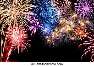 deslumbrante, fogos artifício exibem