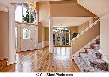 deslumbrante, foyer, em, luxo, casa