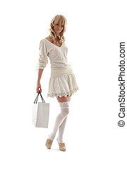 deslumbrante, loura, com, saco shopping, #2