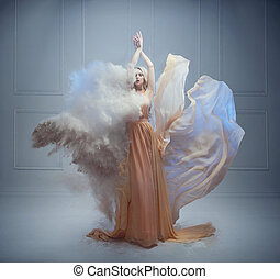 deslumbrante, mulher jovem, em, um, fairy-fairy-tale, pose