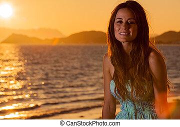deslumbrante, mulher, praia