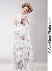 deslumbrante, outre, femininas, em, lacy, vestido branco, com, flores