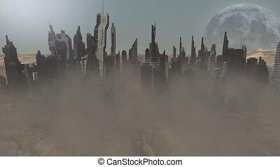 desmoronar, edifícios, ligado, um, animado, planeta