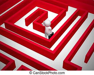 desnorteado, -, confundido, ilustração, solução, labirinto, 3d