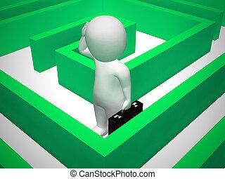 desnorteado, -, labirinto, solução, 3d, ilustração, confundido