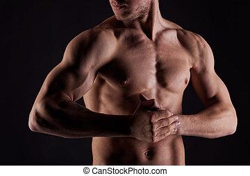 desnudo, estómago, muscular, agua, sexy, gotas, hombre