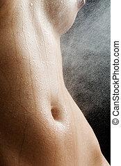 desnudo, estudio, anónimo, mojado