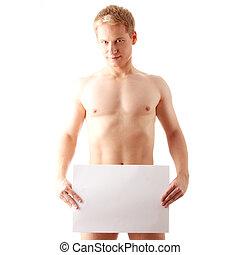 desnudo, hombre, cubierta