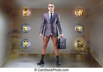 desnudo, hombre de negocios, caja