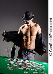 desnudo, hombre de negocios,  casino, Se estropeó