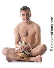 desnudo, hombre, y, chihuahua