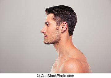 desnudo, joven, retrato, vista, torso, lado, hombre