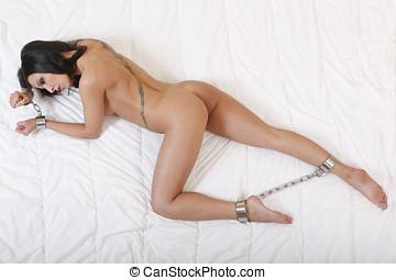 desnudo, o, mujer desnuda, puesto manilla