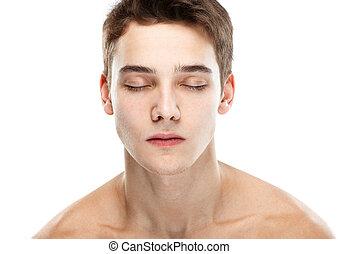 desnudo, ojos cerrados, hombre