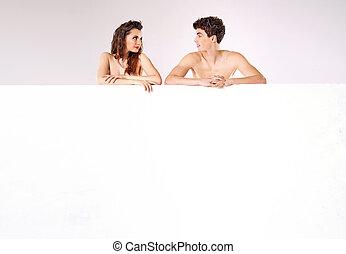 desnudo, pareja, atractivo, tabla, atrás