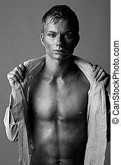desnudo, retrato, hombre