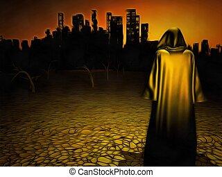 Desolate city - Surrealism. Figure in cloak stands before...