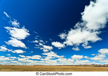 Desolate landscape with beautiful cloudscape