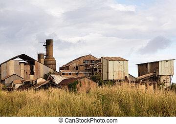 Desolate sugar mill near Koloa, Kauai - Close view of old...
