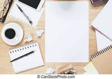 desordenado, blanco, papersheet, lugar de trabajo
