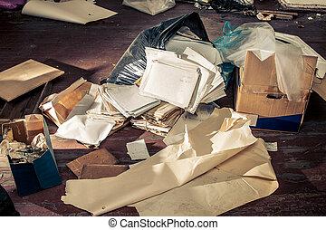 desordenado, bolsa, lugar, plástico