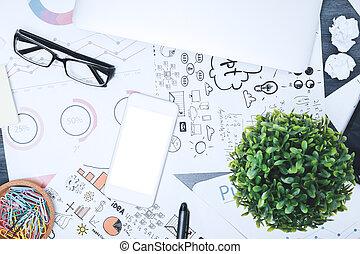 desordenado, contemporáneo, cima escritorio