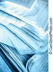 desordenado, documentos, papel, sucio