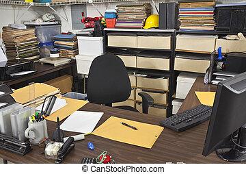 desordenado, espacio trabajo, escritorio de oficina
