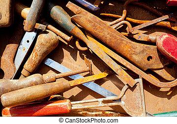 Desordenado,  Grunge, oxidado, herramientas, mano