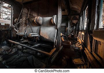desordenado, interior, vehículo