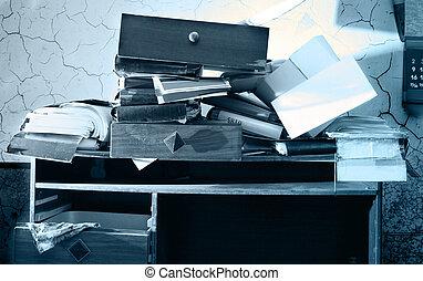desordenado, lugar de trabajo